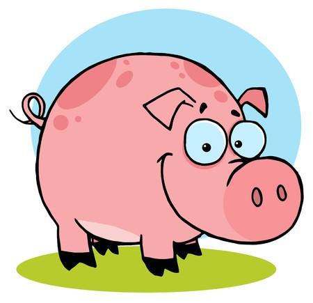 cerdo caricatura:   Feliz cerdo de granja con spots