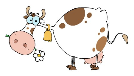 Cartoon Character Cow Different Color White Ilustracja
