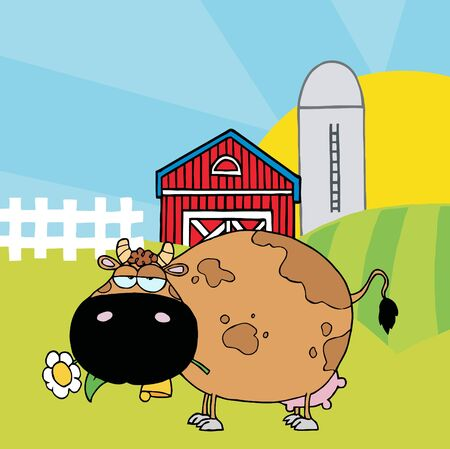 Cartoon Character Cow Different Color Brown In Front Of Country Farm Vector