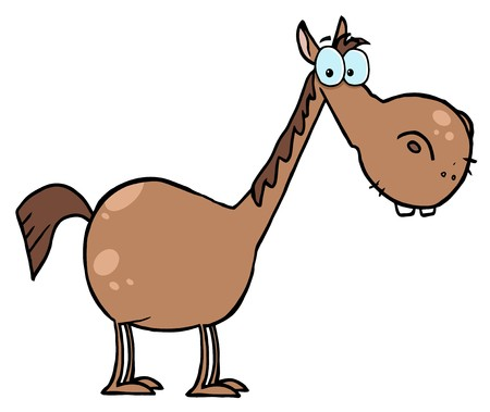 stock clipart icons: Short Brown Horse With A Long Neck Illustration