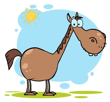 animal cartoons: Brown Horse With A Long Neck In The Sunshine