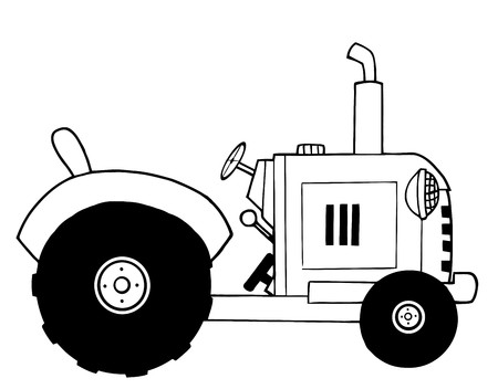 Black And White Farm Tractor Vector
