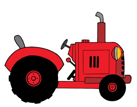 stock clipart icons: Red Farm Tractor