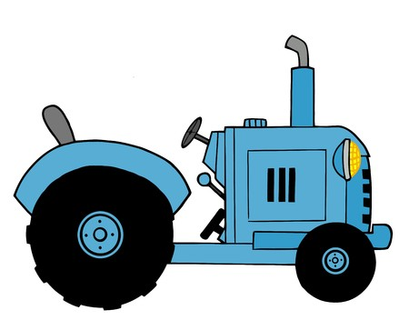 cartoony: Azul Farm Tractor  Vectores