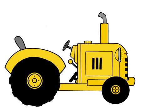 yellow tractor: Yellow Farm Tractor Illustration