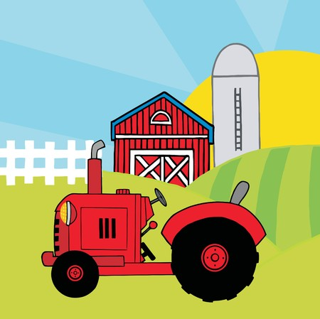 red barn: Red Farm Tractor In A Pasture Near A Barn And Silo