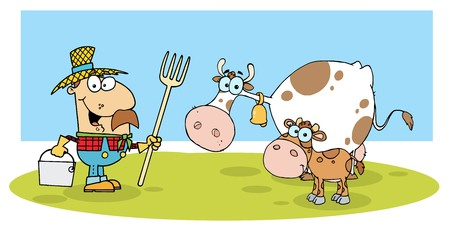 Caucasian Farmer With His Cattle 일러스트