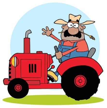 Farmer hispano Waving Y conducir un tractor rojo