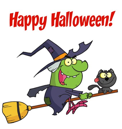 halloween greetings: Happy Halloween Greeting Over A Green Witch