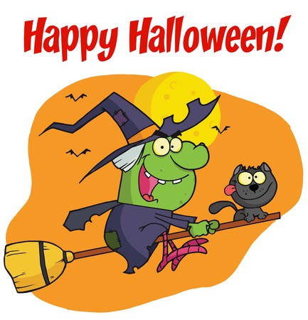 Happy Halloween Greeting Over A Witch And Cat Stock Vector - 6946472