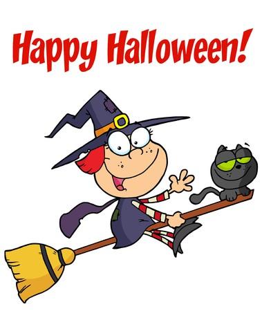 Happy Halloween Greeting Over A Little Witch Illusztráció
