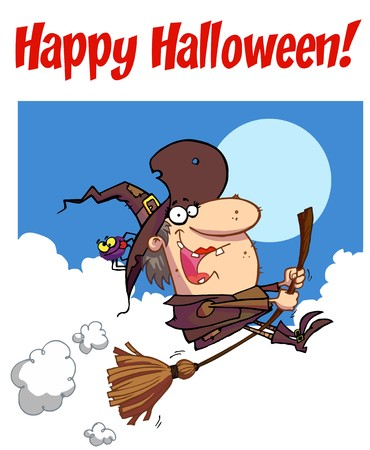 Happy Halloween Greeting Over A Witch And Spider Vector