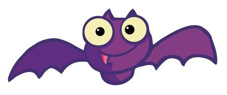 플라잉 보라색 뱀파이어 박쥐 일러스트