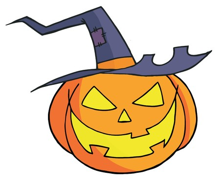 cartoon halloween: Jack O Lantern Wearing A Witch Hat Illustration