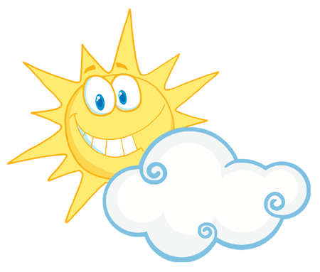 Sunny Face Smiling Behind A Cloud Vector