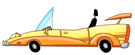 convertible car: �nica Car Convertible amarilla  Vectores