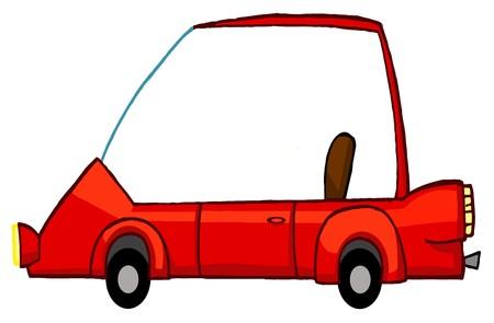 Unique Red Compact Car Ilustração