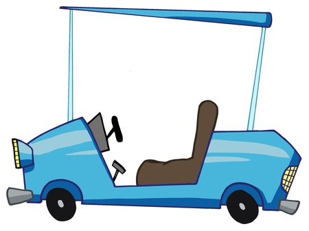 golf cart: Blue Golf Cart