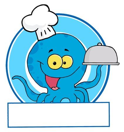Blue Octopus Chef Logo Vector