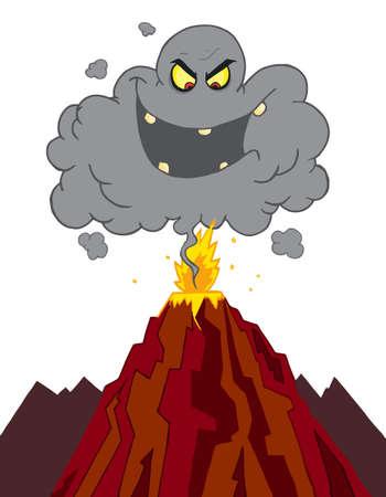 volcano lava: Evil Ash Cloud Above An Erupting Volcano