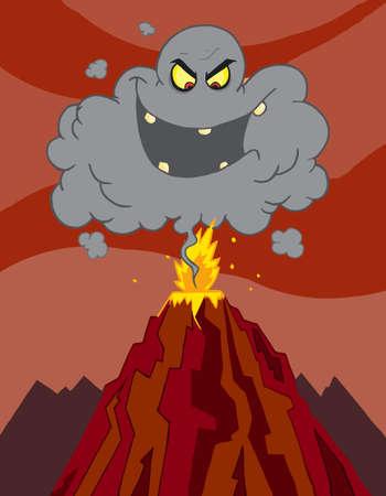 Evil Black Cloud Above An Erupting Volcano Vector