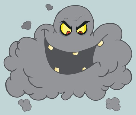 Evil Black Volcanic Ash Cloud Laughing Vector