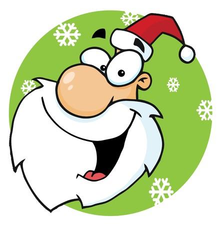 kris: Santa Face Laughing In A Green Snowflake Circle, Facing Left