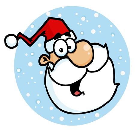 Gezicht van de kerst lachen In een blauwe Snowy cirkel, recht tegenover Vector Illustratie