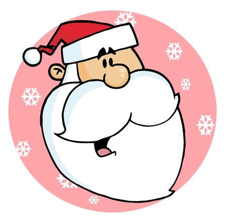 Happy Cartoon Santa Head Facing Right On A Pink Snowflake Circle Stock Vector - 6946440