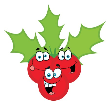 christmas icon: Happy Christmas Holly Berries And Leaves Illustration