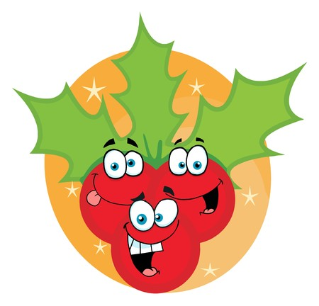 Happy Christmas Holly Berries And Leaves On An Orange Oval Stock Vector - 6946426