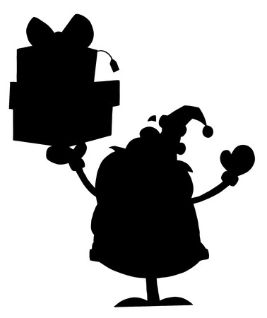 Solid Black Silhouette Of Santa Holding Presents Vector