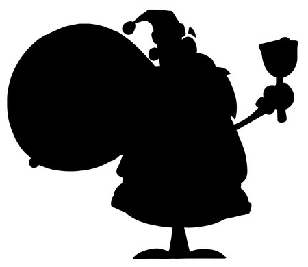 kris kringle: Solid Black Silhouette Of Santa Ringing A Bell Illustration