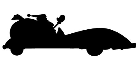 toy sack: Solid Black Silhouette Of Santa Driving A Convertible