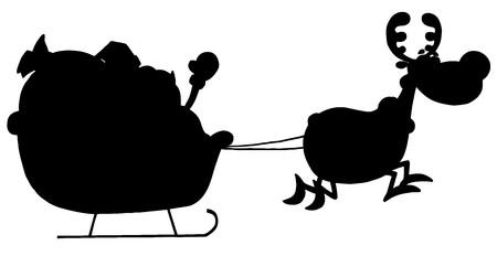 Solid Black Silhouette Of A Reindeer Pulling Santas Sleigh