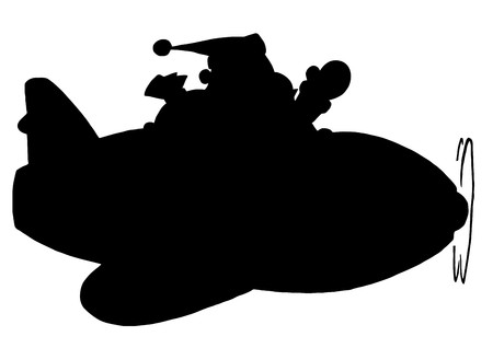 Solid Black Silhouette Of Santa Flying A Plane Vector
