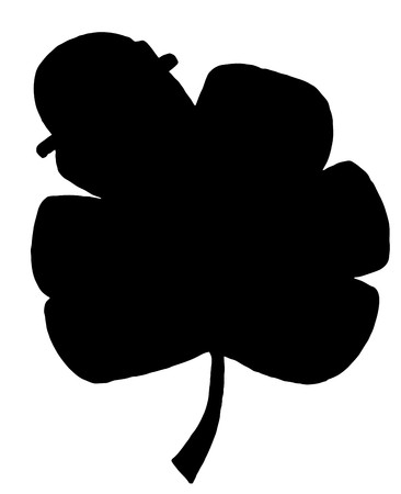 Solid Black Silhouette Of A Clover With A Hat Stock Vector - 6971072