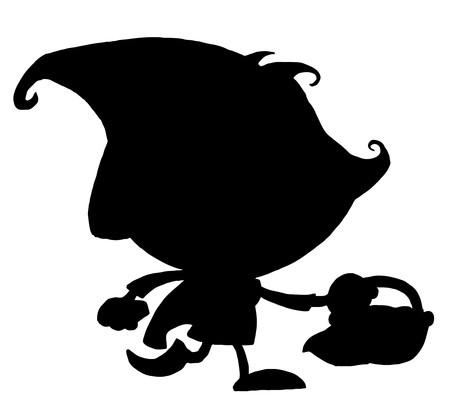 caperucita roja: Silueta de negro s�lido de Little Red Riding Hood  Vectores