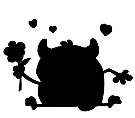 Solid Black Silhouette Of A Monster And Flower Stock Vector - 6971093