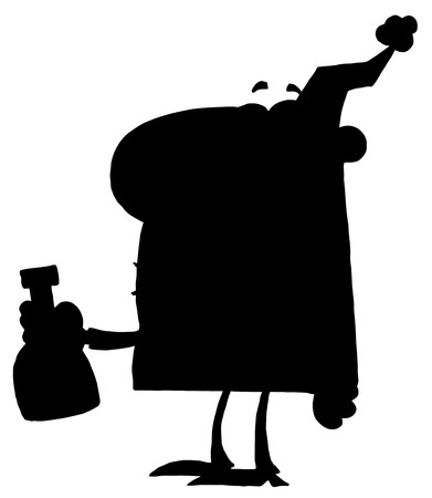 Solid Black Silhouette Of A Party Man With Liquor Vector