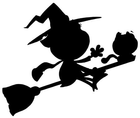 silueta de gato: Silueta de negro sólido de una bruja de vuelo con CAT