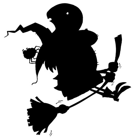 Solid Black Silhouette Of A Flying Witch And Spider Vector
