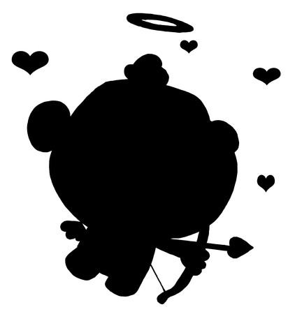 Solid Black Silhouette Of Cupid Vector