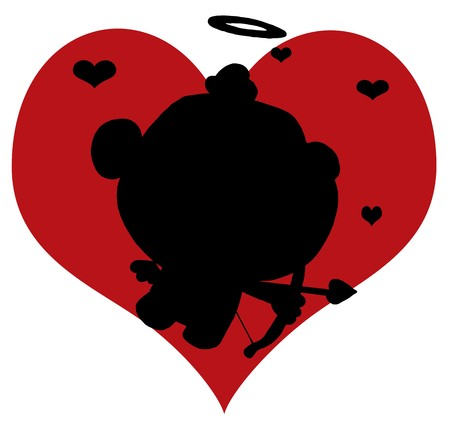 Black Silhouette Of Cupid In Front Of A Red Heart Vector