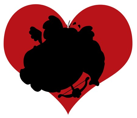 Black Silhouette Of An Elephant Cupid In Front Of A Red Heart Vector