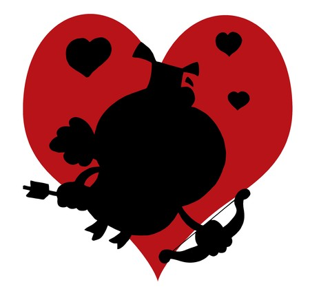 Black Silhouette Of A Pig Cupid In Front Of A Red Heart Stock Vector - 6971095