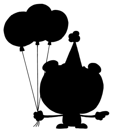 Solid Black Silhouette Of A Birthday Bear Vector