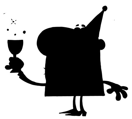 Solid Black Silhouette Of A Drunk Party Man Vector