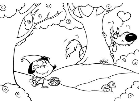 cartoon little red riding hood: Outlined Wolf Stalking Little Red Riding Hood