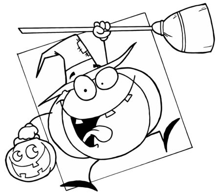 Outlined Halloween Witch Pumpkin Stock Photo - 6971259